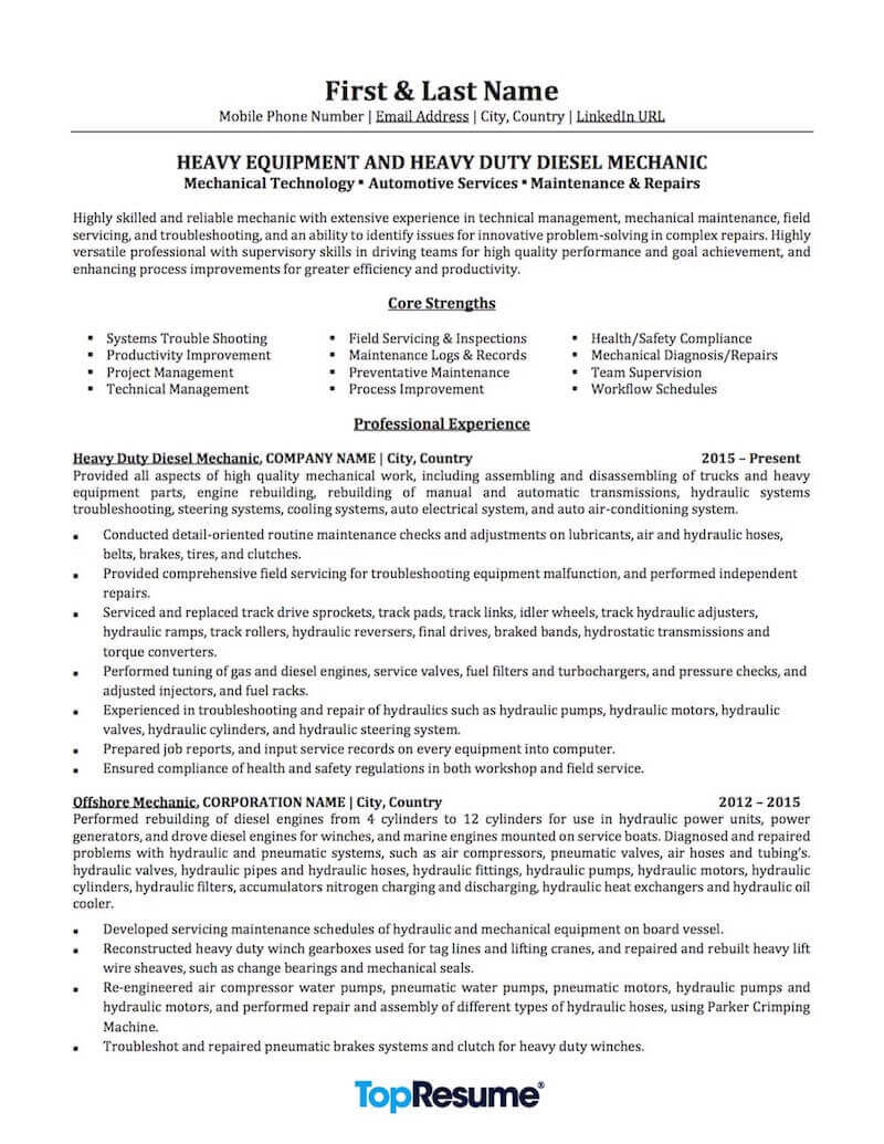 mechanic resume sample professional examples topresume automotive services repair page1 Resume Automotive Mechanic Resume Sample