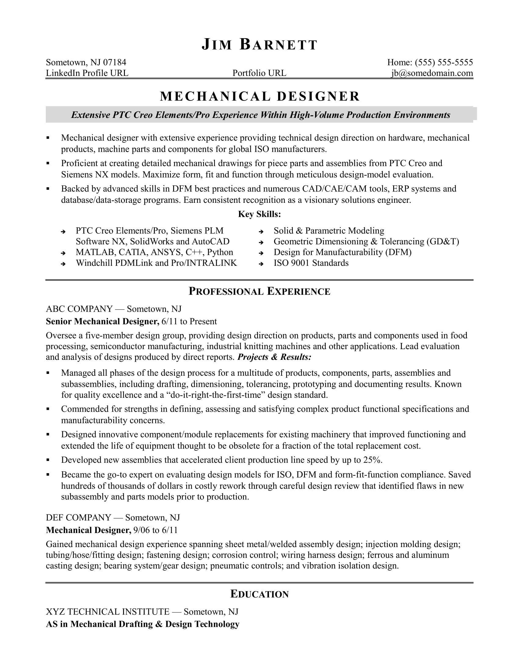 mechanical engineer resume sample stunning for an experienced designer of examples Resume Reentering The Workforce Resume Examples