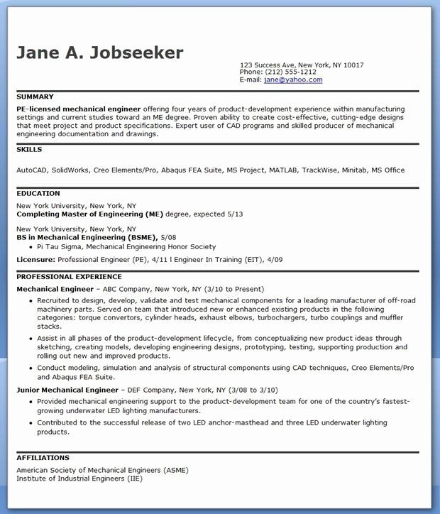 mechanical engineering resume example inspirational best engineer templates template 12th Resume Mechanical Engineer Resume Template