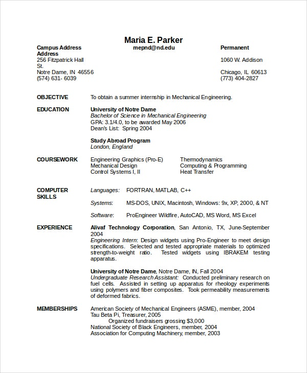 mechanical engineering resume templates pdf free premium objective for fresher engineer Resume Objective For Resume For Fresher Mechanical Engineer