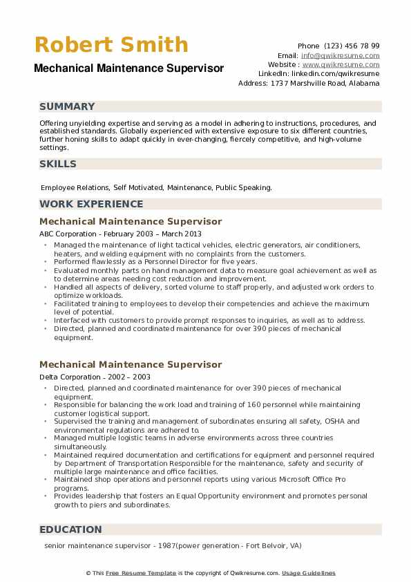 mechanical maintenance supervisor resume samples qwikresume sample pdf define title Resume Mechanical Maintenance Supervisor Resume Sample