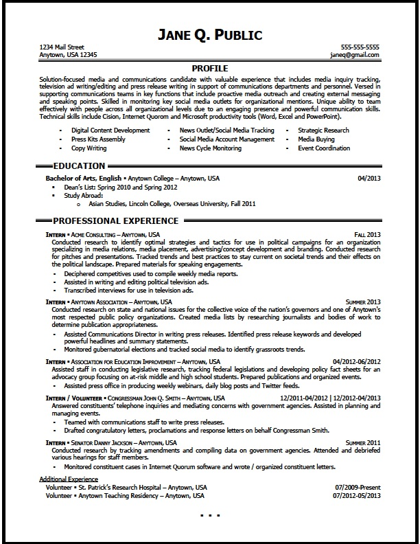 media and communications resume sample the clinic entry level service delivery manager Resume Communications Major Resume