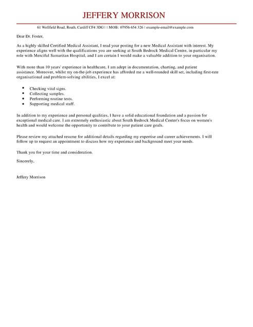 medical assistant cover letter template templates examples resume for full retail Resume Resume Cover Letter Template For Medical Assistant