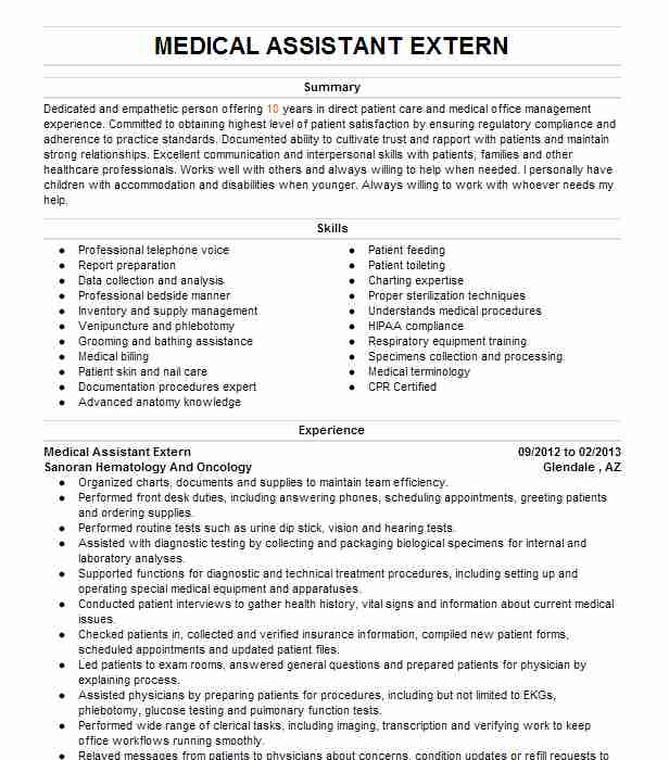 medical assistant extern resume example kaiser permanente oncology department emeryville Resume Externship On Resume For Medical Assistant