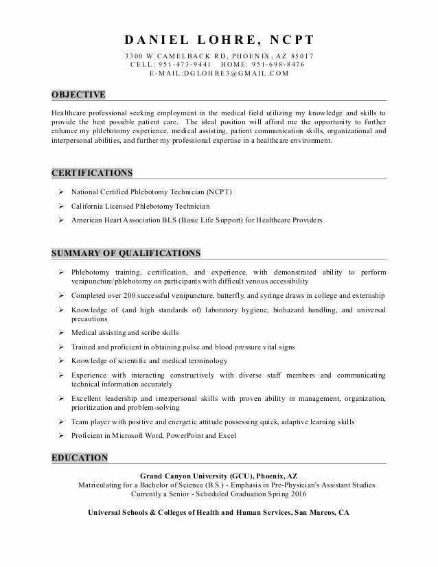 medical assistant resume objective examples entry level unique daniel lohre for field Resume Resume Objective Examples For Medical Field