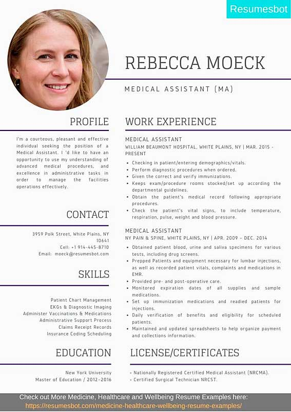 medical assistant resume samples templates pdf ma resumes bot examples for students Resume Resume Examples For Medical Assistant Students