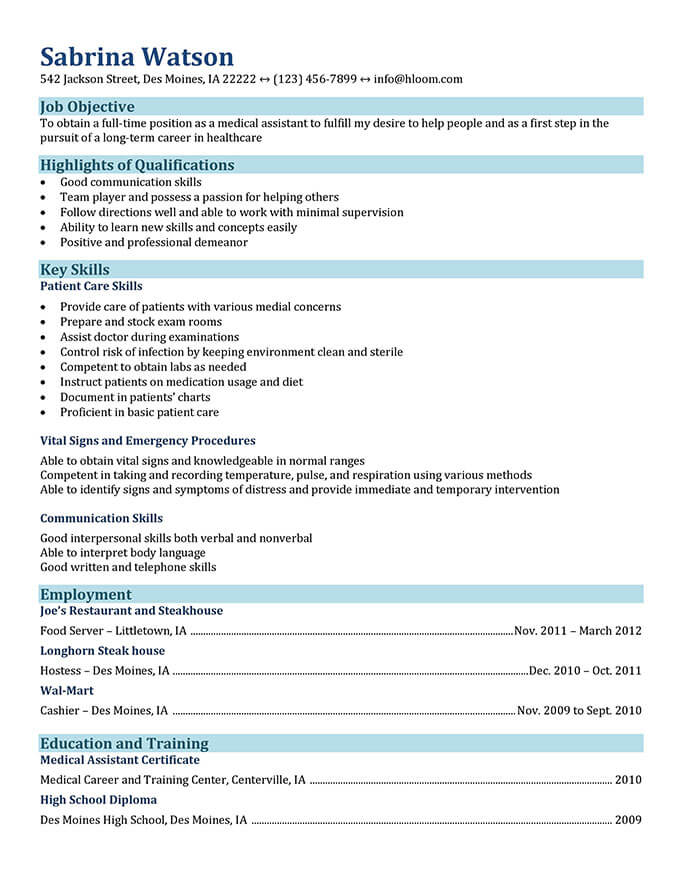 medical assistant resume templates and job tips hloom best examples functional for Resume Best Medical Assistant Resume Examples