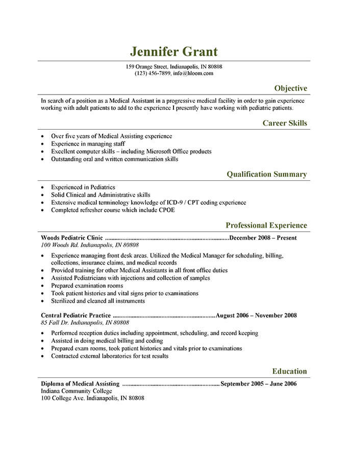 medical assistant resume templates and job tips hloom sample pediatric third mate for Resume Medical Assistant Resume Sample