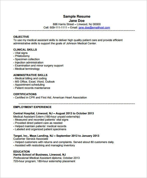 medical assistant resume templates pdf free premium best examples example with externship Resume Best Medical Assistant Resume Examples