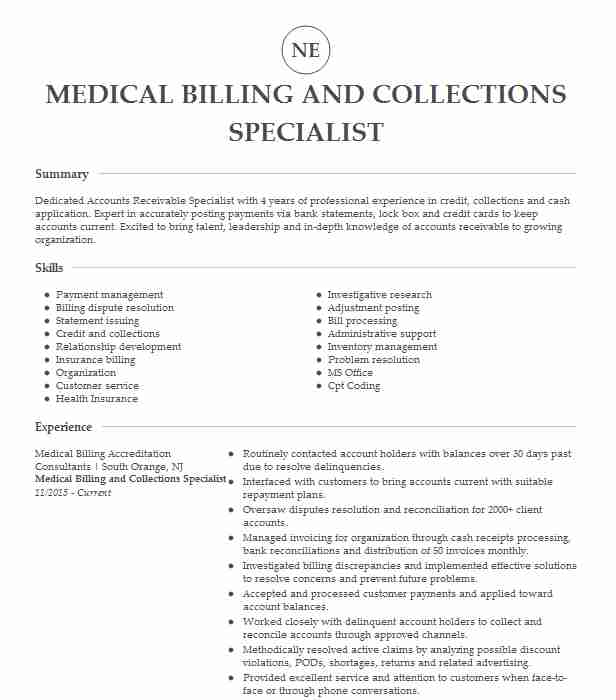 medical billing and collections specialist resume example injury solutions skokie Resume Medical Billing And Collections Specialist Resume