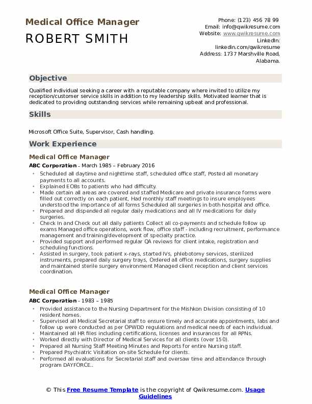 medical office manager resume samples qwikresume example pdf social media academic Resume Office Manager Resume Example