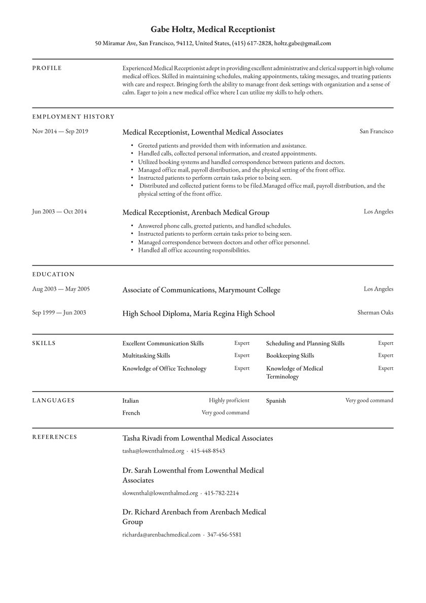 medical receptionist resume examples writing tips free guide io office software testing Resume Office Receptionist Resume