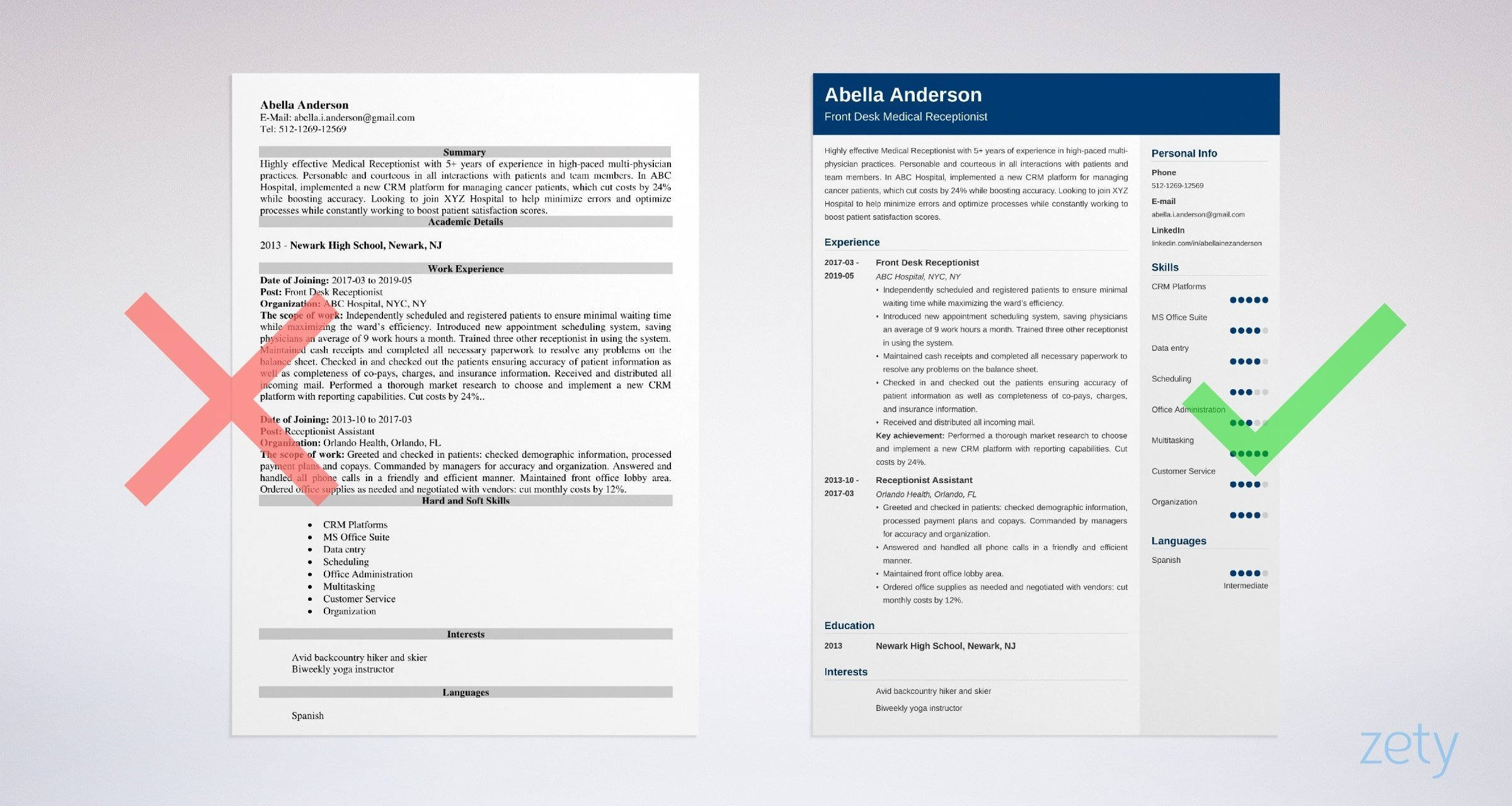 medical receptionist resume sample skills duties tips format for front office assistant Resume Resume Format For Front Office Assistant