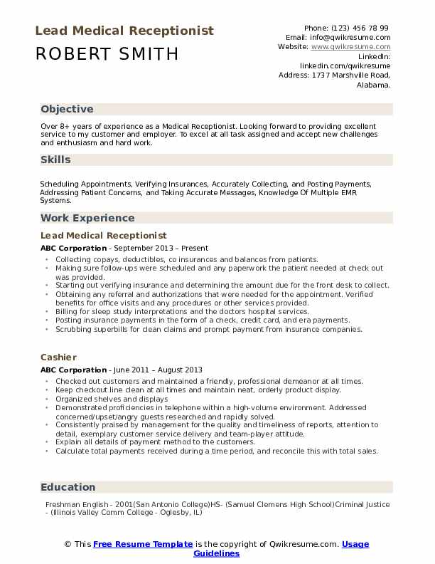 medical receptionist resume samples qwikresume examples of summary for pdf commerce Resume Examples Of Resume Summary For Receptionist