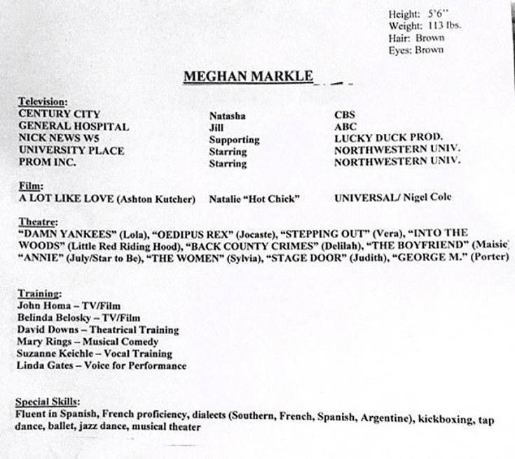 meghan markle acting résumé special skills section filled with dancing and proficiency Resume Skills For Acting Resume