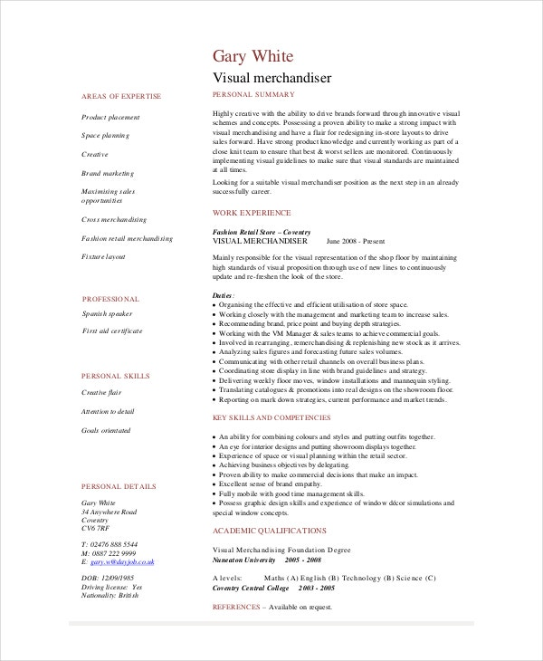 merchandiser resume template free word pdf documents premium templates visual software Resume Visual Merchandiser Resume