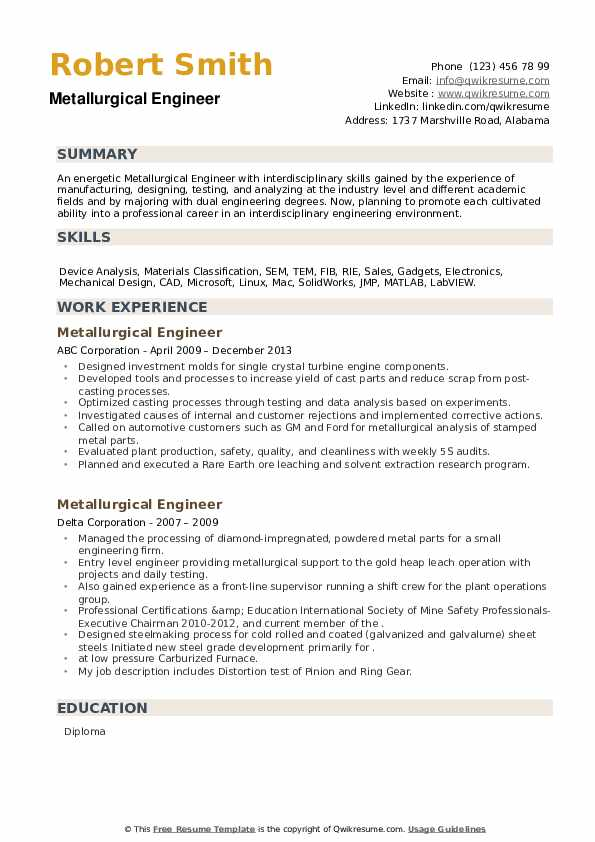 metallurgical engineer resume samples qwikresume pdf irs example healthcare receptionist Resume Metallurgical Engineer Resume