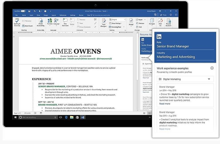 microsoft office users to get linkedin powered resume assistant zdnet Resume Office 365 Resume Assistant