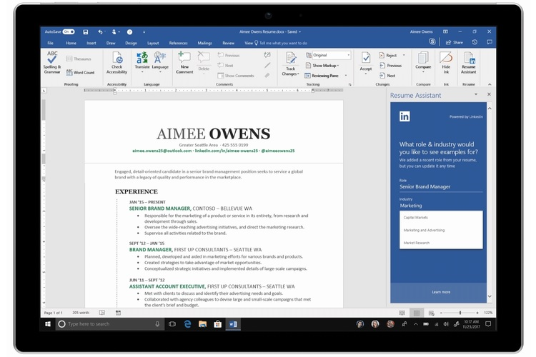 microsoft resume assistant tool in word now available to office subscribers beebom Resume Office 365 Resume Assistant