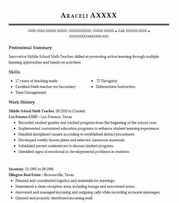 middle school math teacher resume example livecareer skills for plant manager objective Resume Skills For Math Teacher Resume