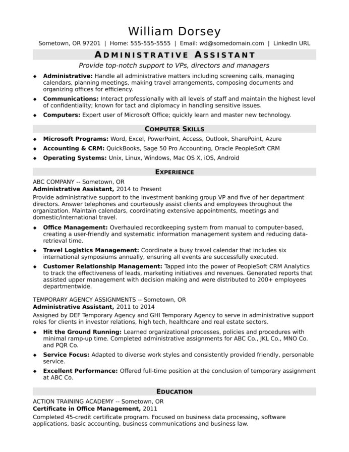 midlevel administrative assistant resume sample monster admin format layouts that stand Resume Admin Assistant Resume Format