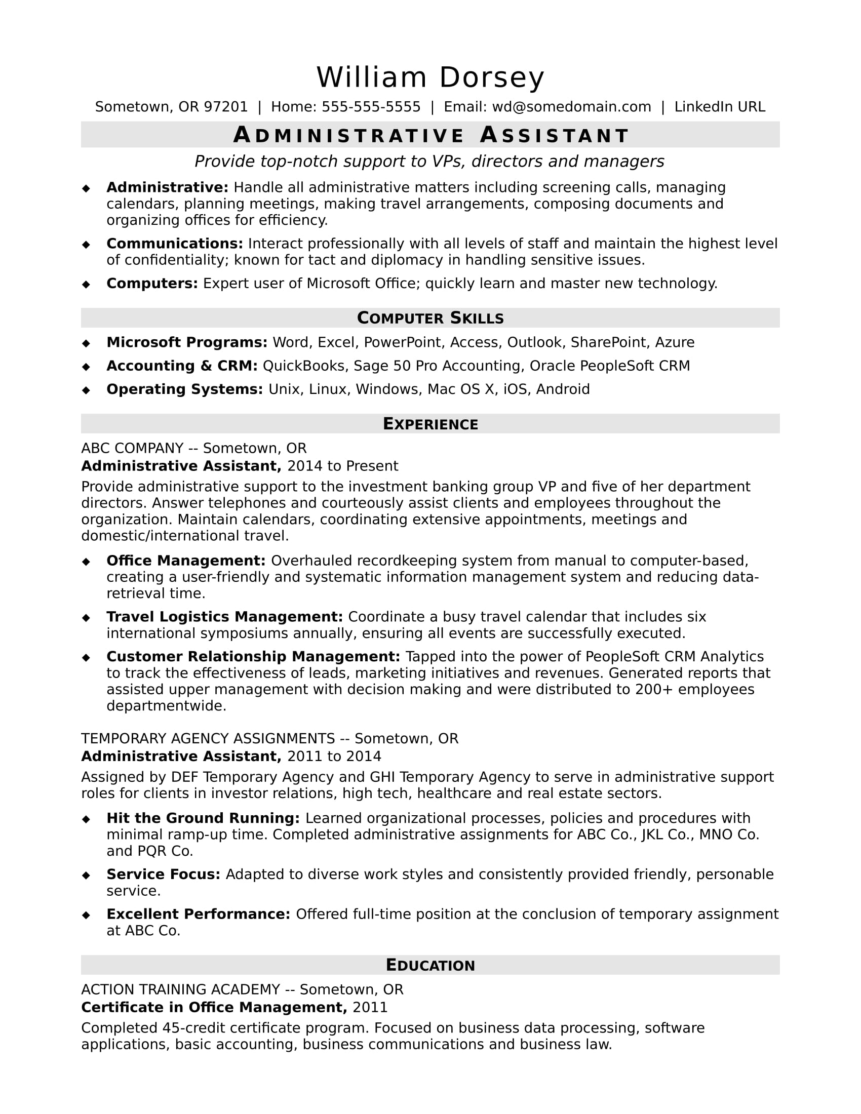 midlevel administrative assistant resume sample monster responsibilities ats friendly for Resume Administrative Assistant Resume Responsibilities