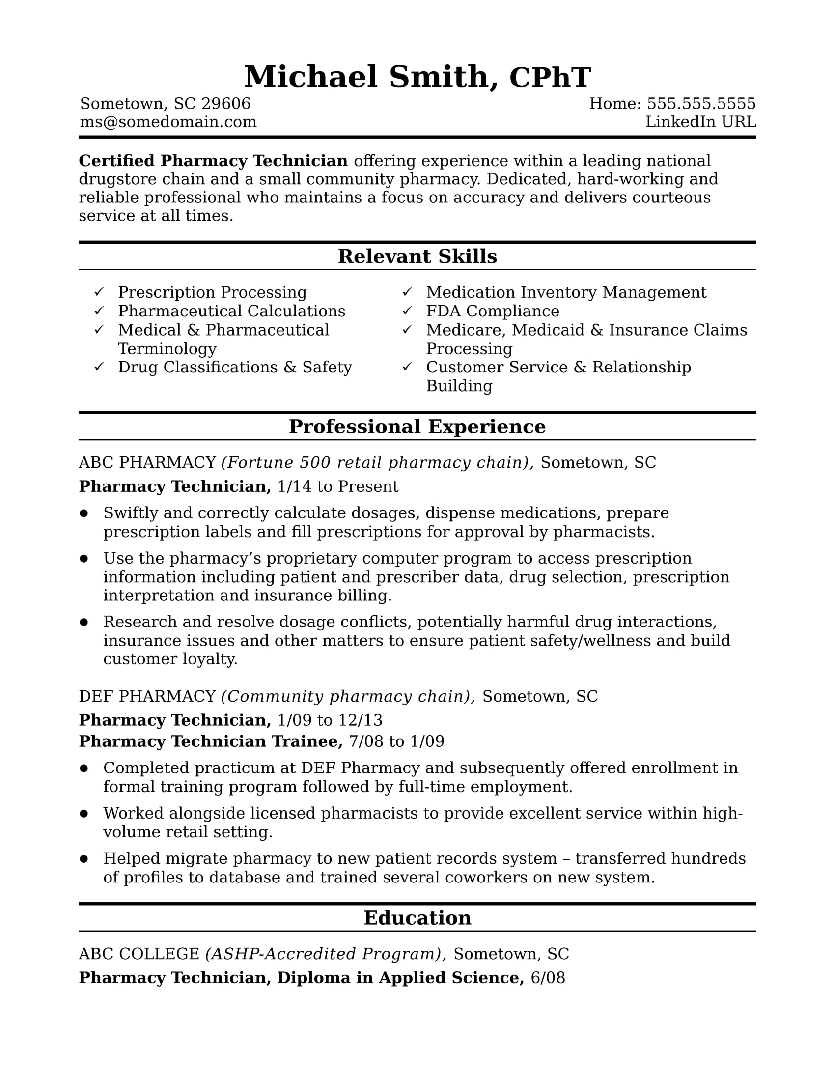 midlevel pharmacy technician resume sample monster pharmacist example templates microsoft Resume Pharmacist Resume Example