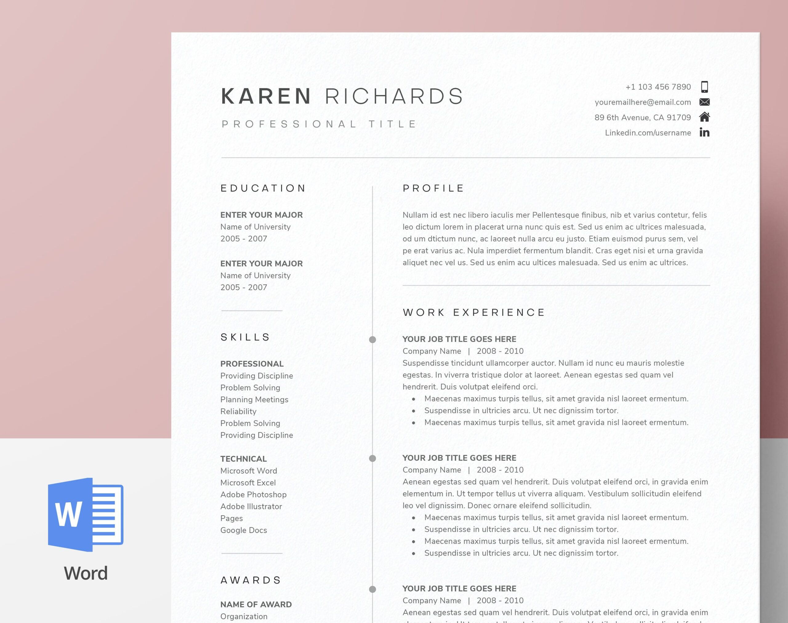 modern clean one resume template cv cover etsy microsoft word entry level system analyst Resume Microsoft Word One Page Resume Template