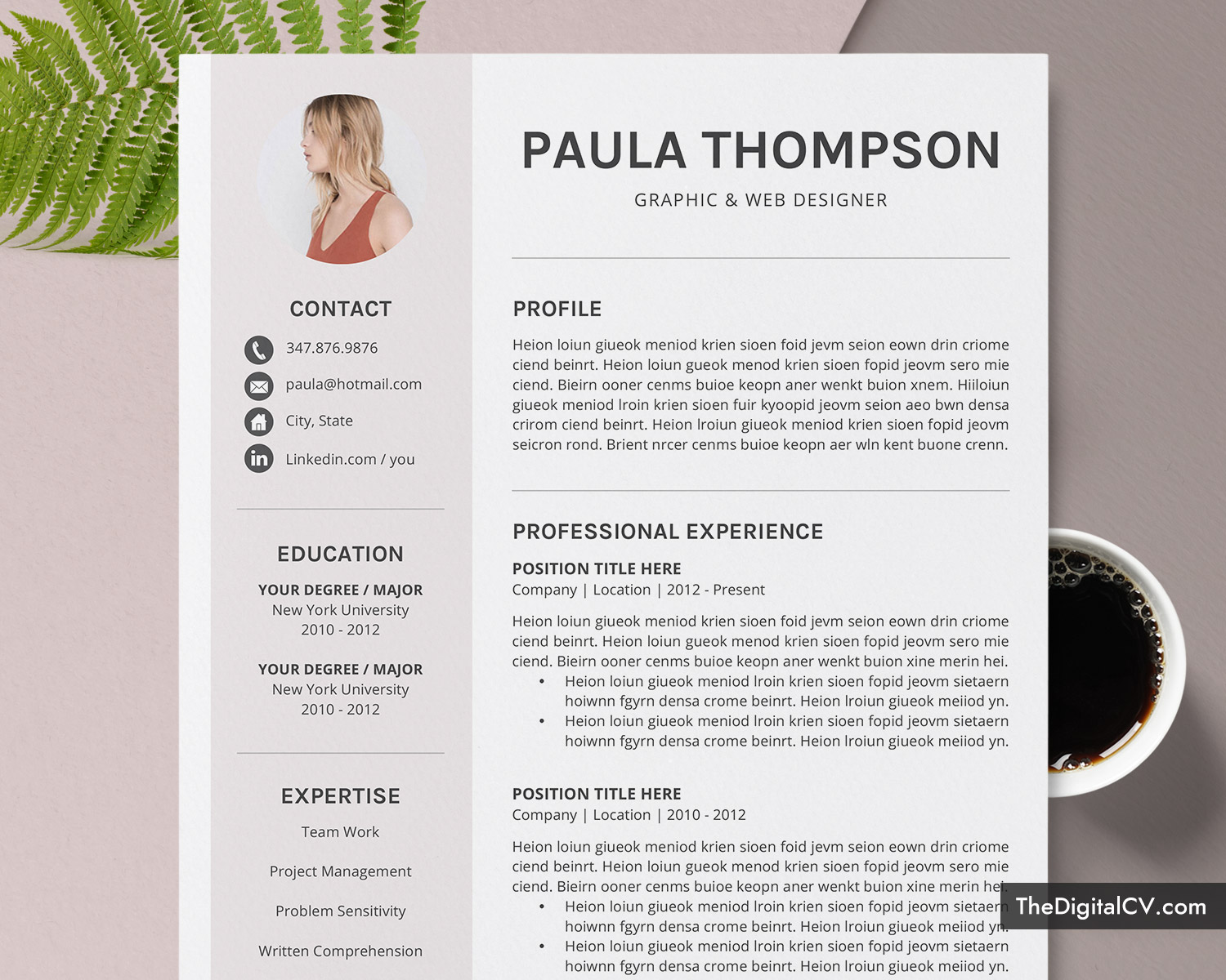 modern cv template for microsoft word simple design clean resume creative professional Resume Download Professional Resume Template Microsoft Word
