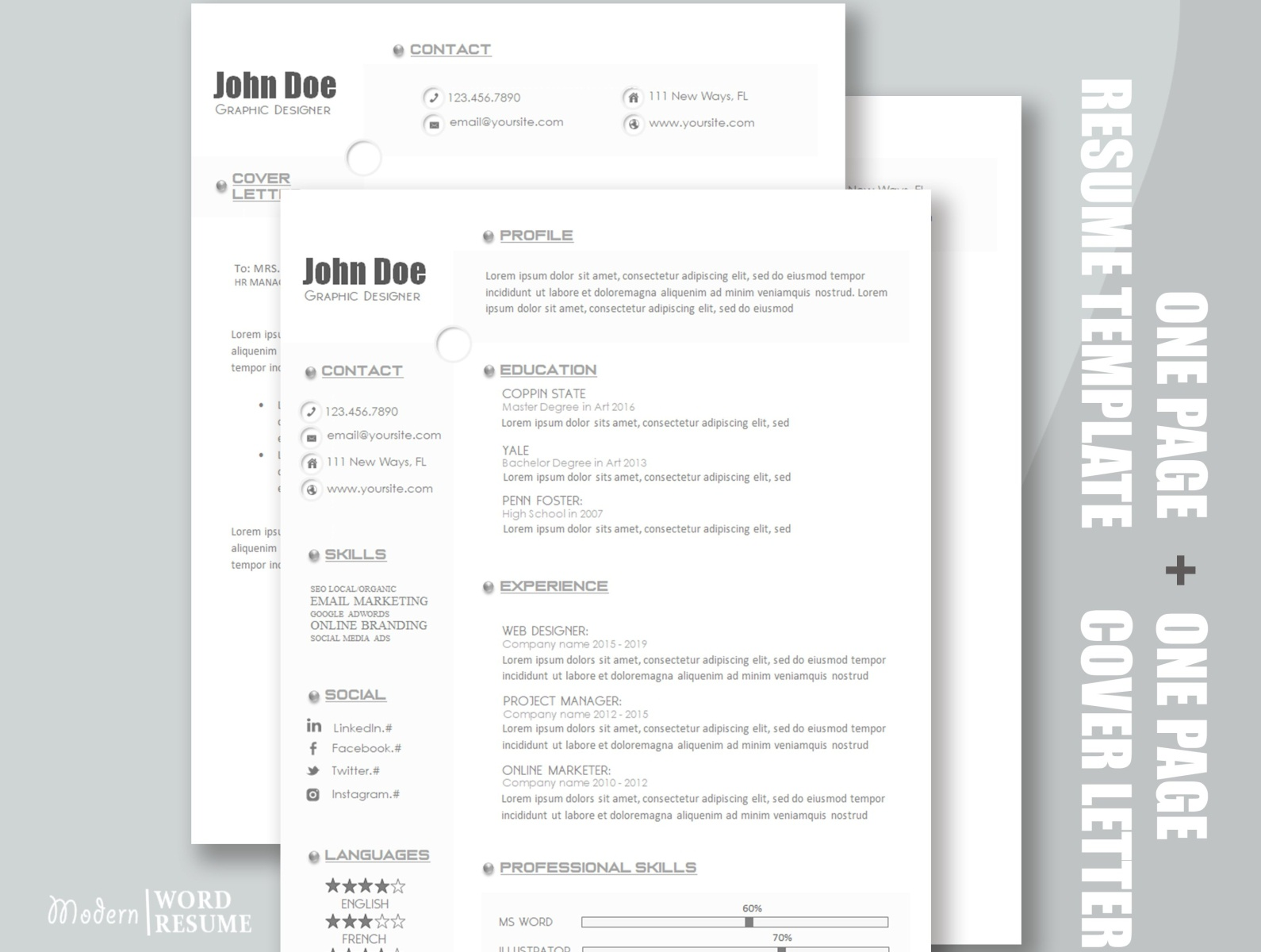 modern one resume template microsoft word server profile entry level system analyst Resume Microsoft Word One Page Resume Template
