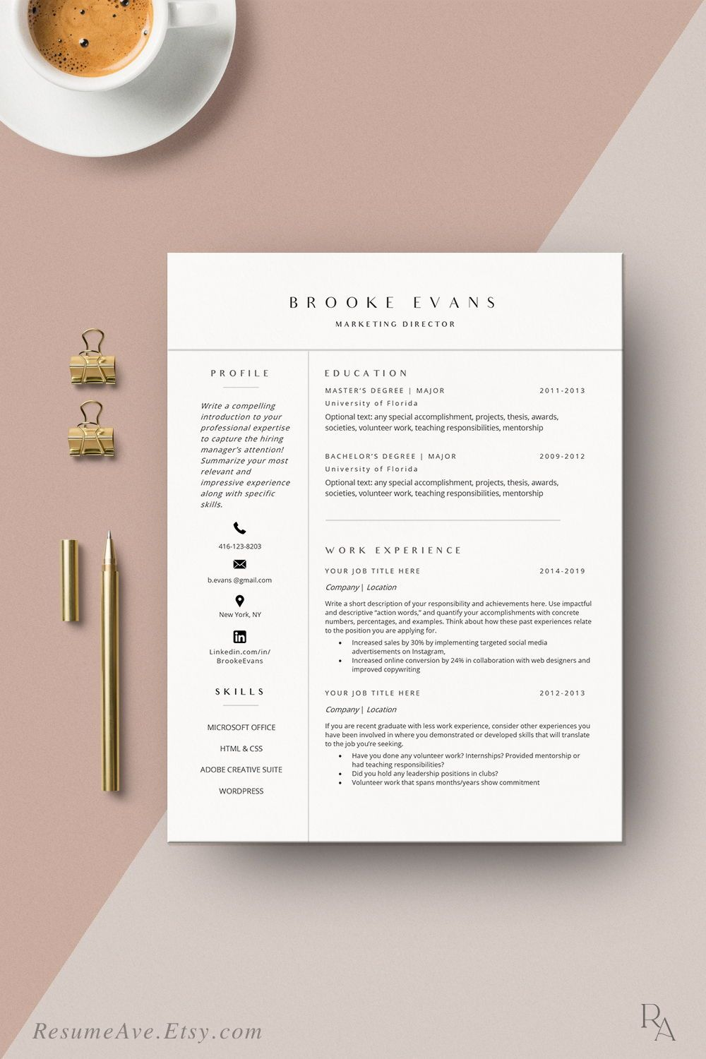 modern resume template word instant minimal etsy nursing the step office job contract Resume The 24 Step Modern Resume