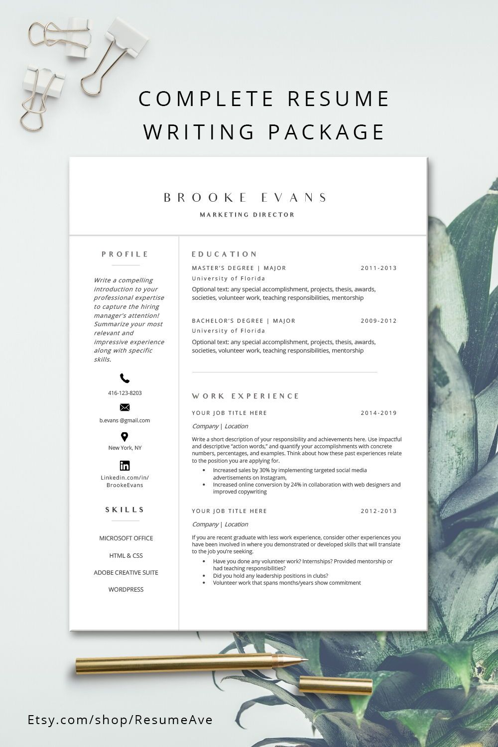 modern resume template word instant minimal etsy teacher the step youth pastor proposal Resume The 24 Step Modern Resume
