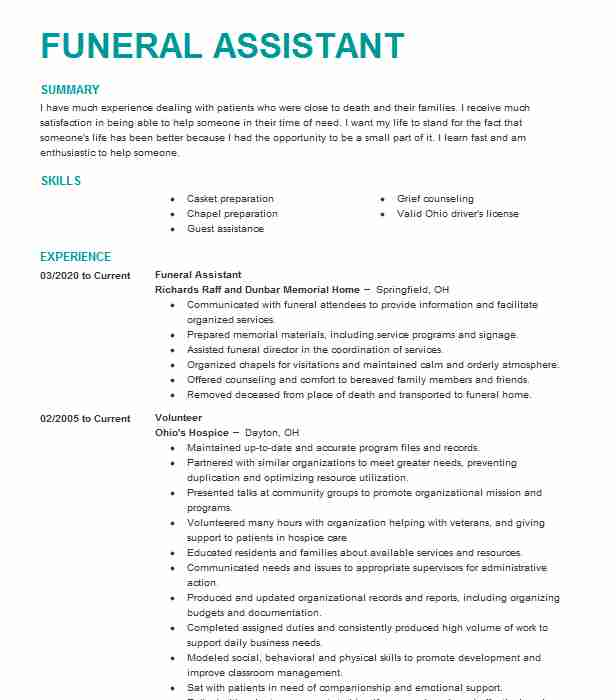 mortuary student funeral assistant resume example chapel knoxville home administrative Resume Funeral Home Administrative Assistant Resume