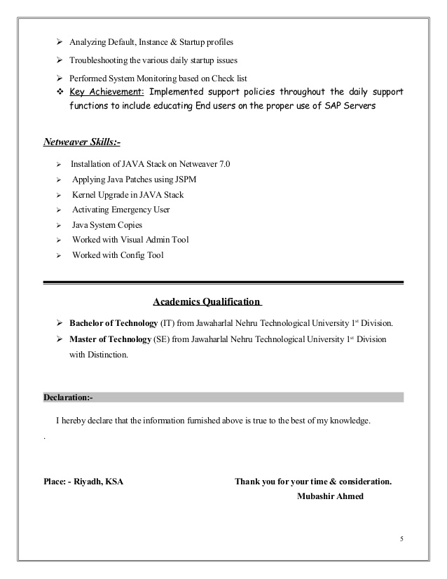 mubashir ahmed erp sap basis consultant resume with yr exp for years experience free Resume Sap Basis Resume For 3 Years Experience
