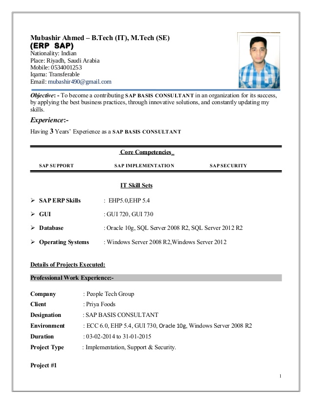 mubashir ahmed erp sap basis consultant resume with yr exp implementation simple cover Resume Sap Implementation Resume