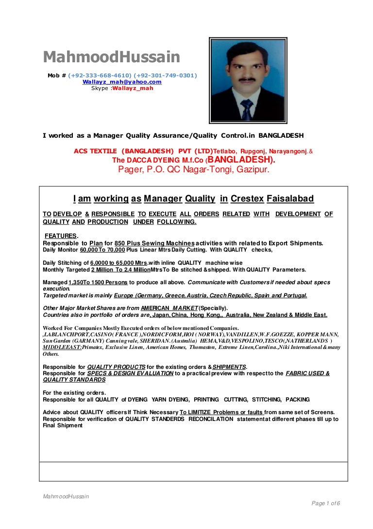 my cv for the job of qc qa manager in home textiles garments quality incharge resume Resume Quality Incharge Resume