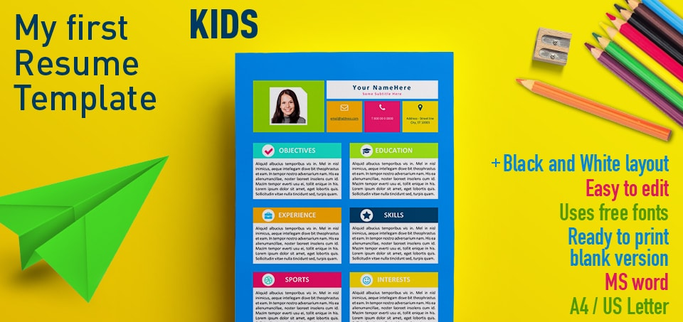 my first resume template for kids fun templates free word objective transition career Resume Fun Resume Templates Free