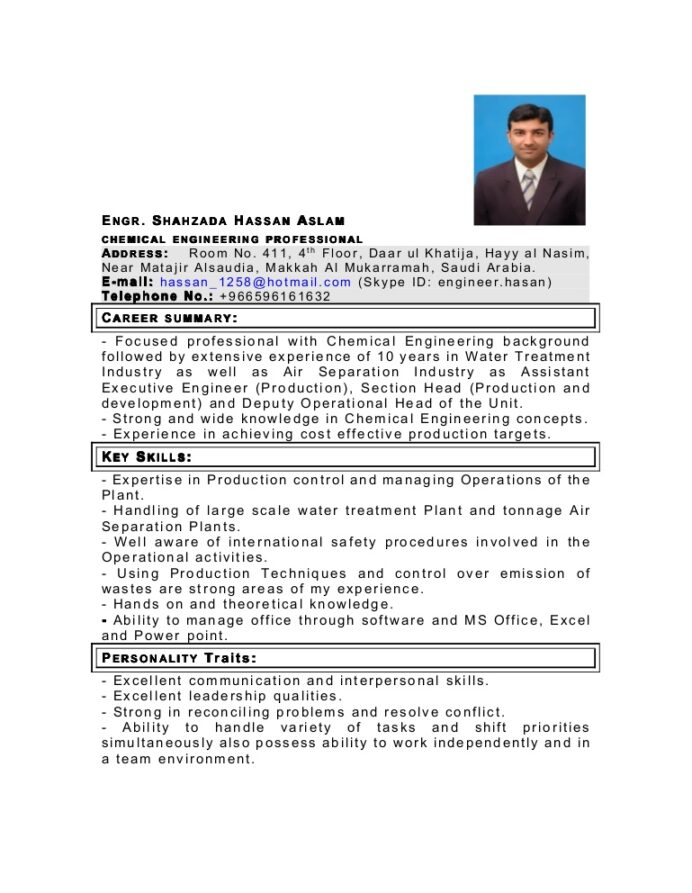 my latest cv as chemical engineer in pdf engineering resume format Resume Chemical Engineering Resume Format Download
