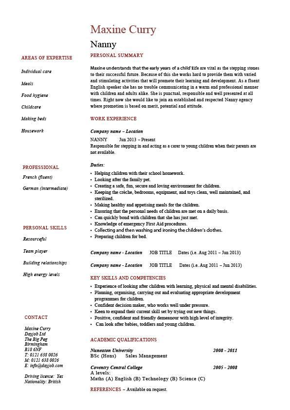nanny resume example sample babysitting children professional skills jobs for babysitter Resume Resume For Babysitter Position