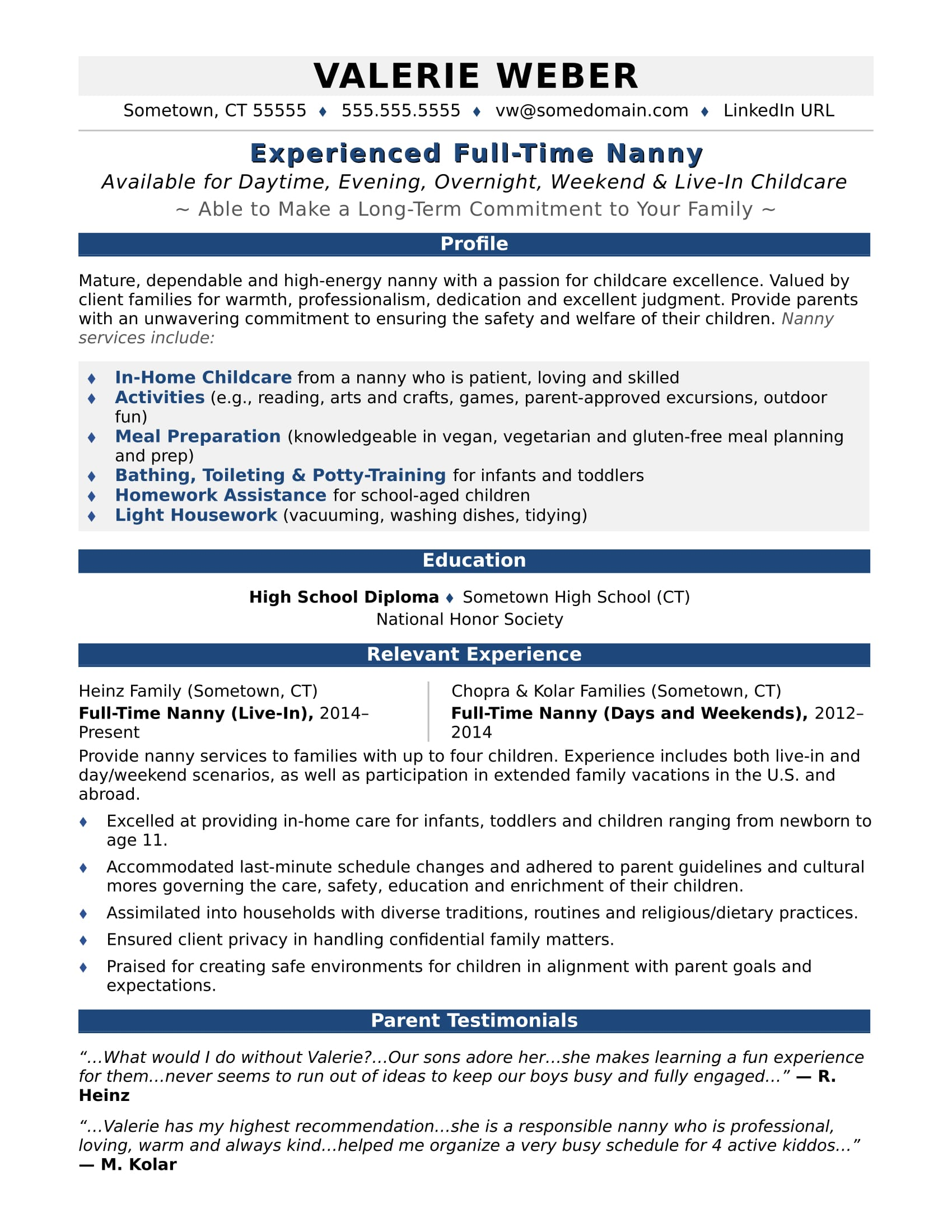 nanny resume sample monster with one term job write below short executive summary of your Resume Resume With One Long Term Job