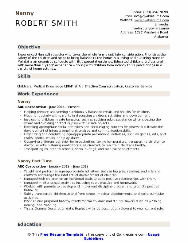 nanny resume samples qwikresume for babysitter position pdf compensation general Resume Resume For Babysitter Position