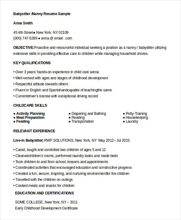 nanny resume templates pdf free premium for babysitter position albuquerque service Resume Resume For Babysitter Position