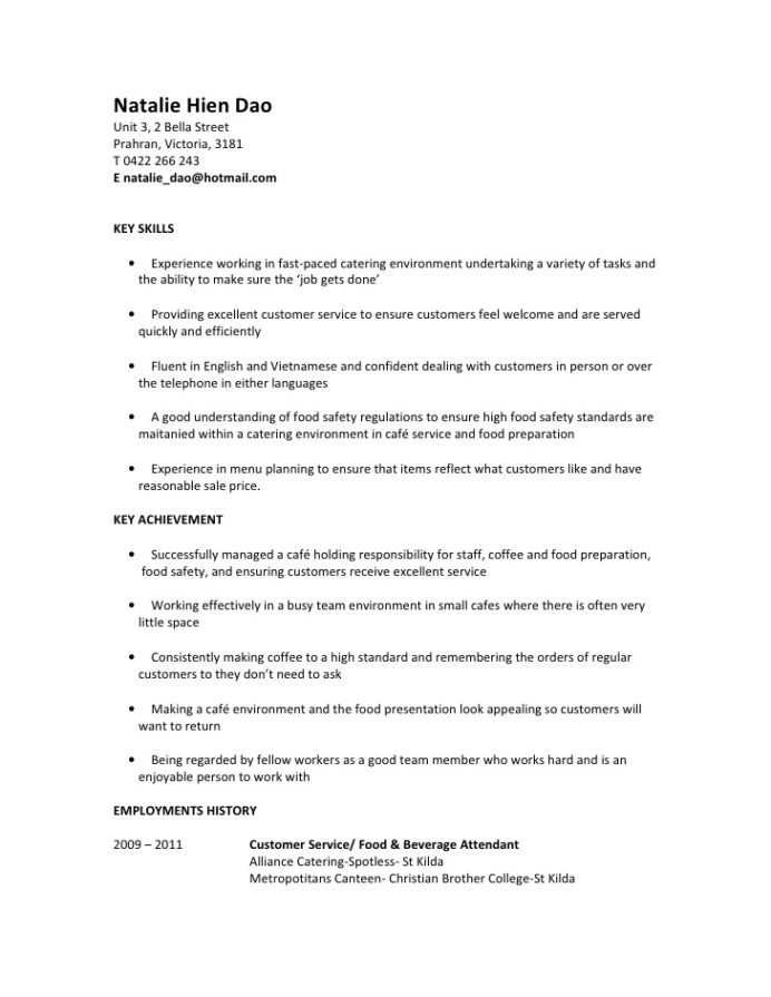 natalie hien dao resume for food service assistant customer assistantrtf common templates Resume Cafe Customer Service Resume