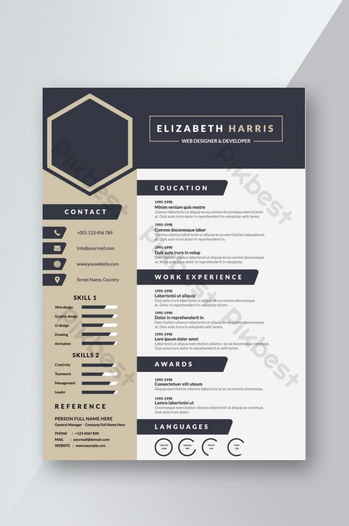 navy blue creative resume cv template design for interview word free pikbest Resume Creative Resume Word Template Free Download