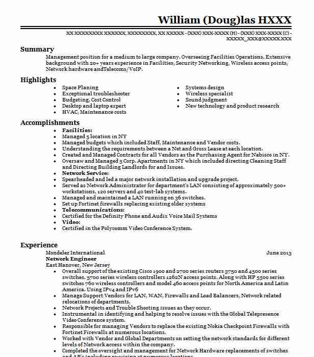 network engineer resume example technical resumes livecareer professional sample for Resume Network Professional Resume