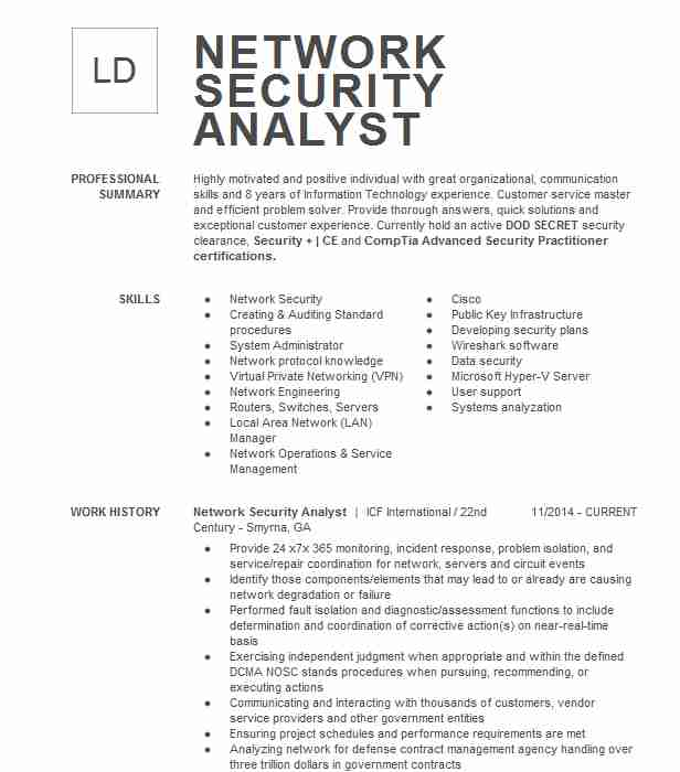 network security analyst resume example resumes livecareer information sample director Resume Information Security Analyst Sample Resume
