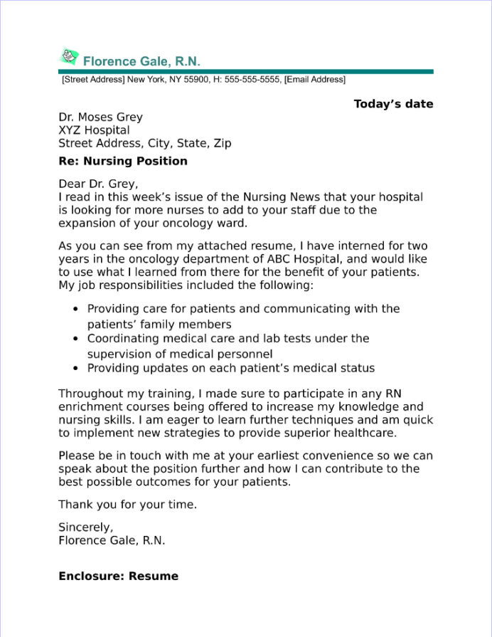 new graduate nurse cover letter sample oncology resume objective certifications on for Resume Oncology Nurse Resume Objective