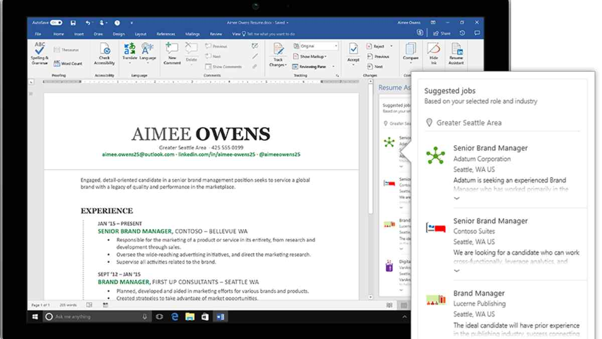 new microsoft word resume tool recommends linkedin job postings office assistant Resume Office 365 Resume Assistant