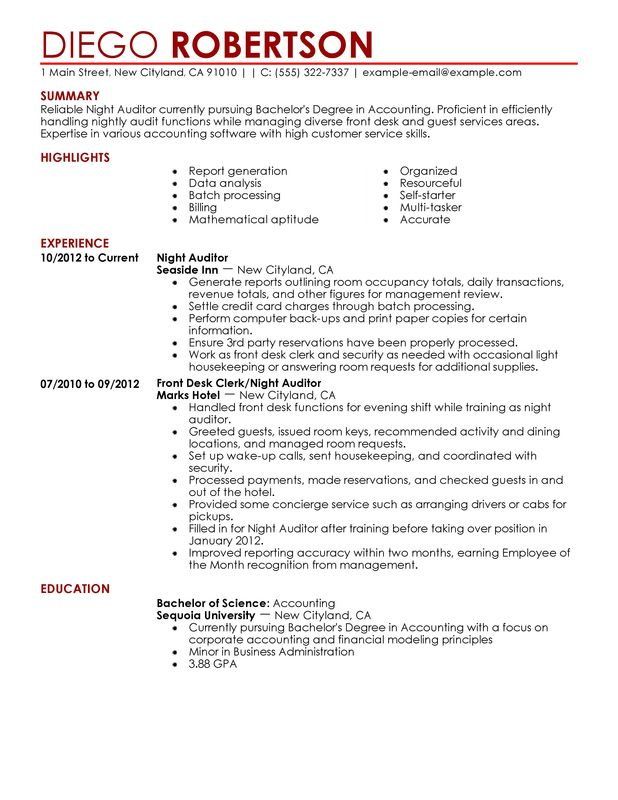 night auditor resume examples free to try today myperfectresume financial hotel and Resume Financial Auditor Resume