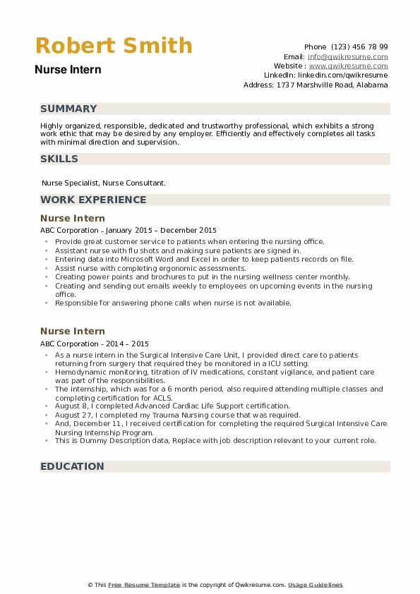 nurse intern resume samples qwikresume work experience pdf quick review federal template Resume Nurse Work Experience Resume
